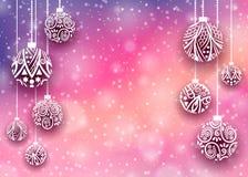 圣诞快乐球背景 免版税库存图片