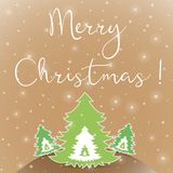 圣诞快乐白色贺卡 免版税库存照片