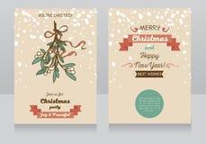 圣诞快乐的两张卡片 向量例证
