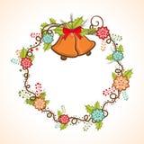 圣诞快乐的创造性的花卉框架 库存例证