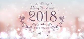 圣诞快乐的发光的圣诞节球2018年和在美好的背景的新年与光,星,雪花 库存照片