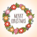 圣诞快乐的美丽的贺卡 免版税库存图片