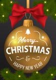 圣诞快乐的题字和在b的一新年好 图库摄影
