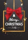 圣诞快乐的题字在金框架和与稀土 库存照片