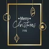 圣诞快乐的题字在黑背景的在去 免版税库存照片