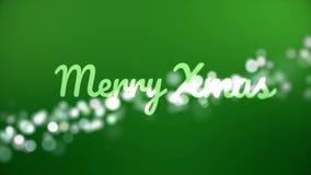 圣诞快乐看板卡 与问候题字、bokeh作用和绿色背景的圣诞节动画 摘要 库存例证