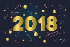 圣诞快乐看板卡 金子第2018年 发短信在与雪花,礼物,棒棒糖,响铃,星,雪橇的背景 免版税库存图片