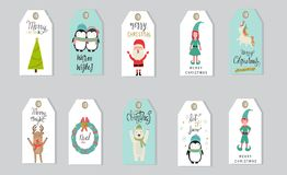 圣诞快乐礼物标记手字法为冬天holid设置了 免版税库存照片