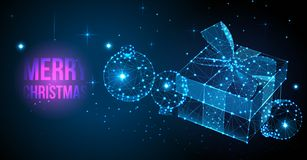 圣诞快乐礼物欢乐卡片 与礼物盒、丝带、弓和圣诞节球的现代低多卡片 向量例证