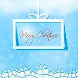 圣诞快乐礼物盒卡片 免版税库存照片