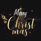 圣诞快乐背景由金黄圣诞树和金黄星装饰 皇族释放例证