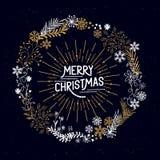 圣诞快乐花圈 库存例证