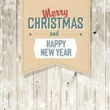 圣诞快乐葡萄酒在板条的标记设计 库存照片