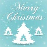 圣诞快乐蓝色贺卡 免版税库存照片