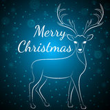圣诞快乐蓝色鹿 库存例证