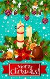圣诞快乐蜡烛花圈传染媒介贺卡 皇族释放例证