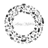 圣诞快乐装饰例证黑白的线艺术 免版税图库摄影