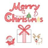 圣诞快乐装饰集 免版税库存照片