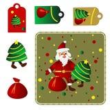 圣诞快乐设置与圣诞老人 免版税库存图片