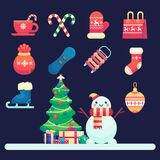 圣诞快乐象,雪人,装饰了圣诞树,并且礼物导航在平的样式的五颜六色的例证 免版税库存照片