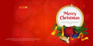 圣诞快乐贺卡或明信片与假日装饰和地方文本的 库存照片