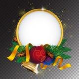 圣诞快乐贺卡或横幅与假日装饰 免版税图库摄影