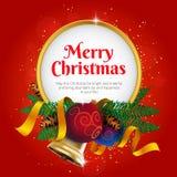 圣诞快乐贺卡或横幅与假日装饰 免版税库存照片
