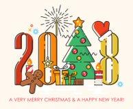 圣诞快乐贺卡2018年 新年好愿望 在平的线现代样式的海报 免版税库存照片