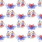 圣诞快乐递凹道例证 亲吻在槲寄生下的两只滑稽的兔子 无缝的模式 皇族释放例证