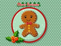 圣诞快乐逗人喜爱的动画片姜饼人曲奇饼 库存照片