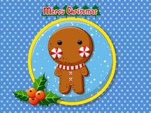 圣诞快乐逗人喜爱的动画片姜饼人曲奇饼 免版税图库摄影
