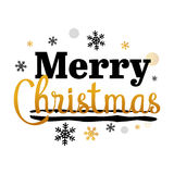 圣诞快乐金子和黑印刷传染媒介艺术 库存照片