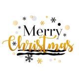 圣诞快乐金子和黑印刷传染媒介艺术 库存图片
