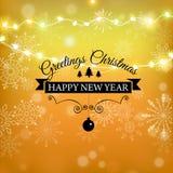 圣诞快乐金子闪烁书信设计 圣诞节贺卡,海报,横幅 金黄闪烁的雪 向量例证