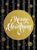 圣诞快乐金子闪烁镀金料贺卡 皇族释放例证