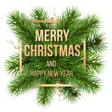 圣诞快乐金黄框架和杉木分支 皇族释放例证