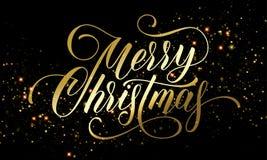 圣诞快乐金黄欢乐闪烁五彩纸屑或闪耀的烟花贺卡在优质黑背景 传染媒介金子c 库存例证