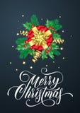 圣诞快乐金黄装饰和金礼物丝带贺卡在闪烁的五彩纸屑黑色背景鞠躬 传染媒介基督 图库摄影
