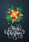 圣诞快乐金黄装饰和金礼物丝带贺卡在闪烁的五彩纸屑黑色背景鞠躬 传染媒介基督 免版税图库摄影