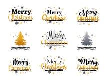 圣诞快乐金,银色和黑印刷传染媒介文本集合 免版税库存图片