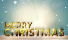 圣诞快乐金黄大胆的字体3d回报 免版税库存图片
