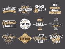 圣诞快乐销售覆盖 新年折扣引述集合 滑稽的xmas印刷术艺术 趋向颜色 储蓄传染媒介 库存例证