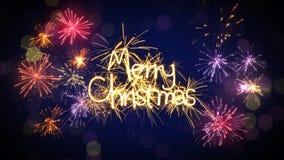 圣诞快乐闪烁发光物文本和烟花 免版税库存照片
