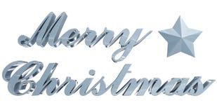 圣诞快乐问候、蓝蓝3d信件和星在白色 免版税图库摄影