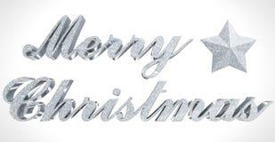 圣诞快乐问候、闪耀的3d信件和星在白色 库存照片