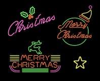 圣诞快乐集合减速火箭的霓虹灯标志标签 库存图片