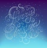圣诞快乐题字减速火箭的书法 免版税库存照片