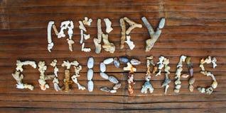 圣诞快乐题字手工制造与在木背景的海珊瑚 库存照片
