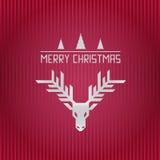 圣诞快乐驯鹿垫铁和条纹例证 免版税库存照片