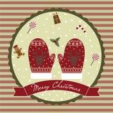 圣诞快乐驯鹿手套 免版税库存照片